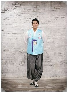 Men in Hanbok: A man in male hanbok consisting of jeogori (jacket) and baji (trousers)