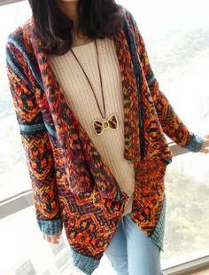 Orange Long Sleeve Asymmetrical Geometric Pattern Sweater - Sheinside.com Mobile Site