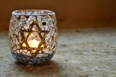 davids star is made with metallic gold glass clear by Ernymedesign, $15.00