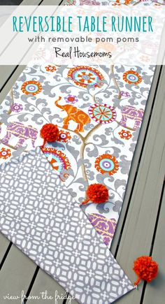 Reversible Outdoor Table Runner ... With Removable Pom Poms
