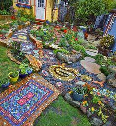 "12 Likes, 1 Comments - Fernanda Figueiredo (@boho_enchanted) on Instagram: ""Stunning Mosaic Garden ""Milagro Pathway"" by Carol Bevilacqua.…"""
