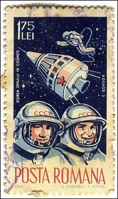 Italian stamp depicting the space race CCCP