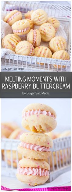 Melting Moments Cookies are a type of shortbread that melts in your mouth and these ones are filled with an easy Raspberry Buttercream. #meltingmoments #raspberrybuttercream #cookies via @sugarsaltmagic