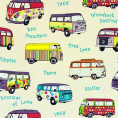 Summer of Love 1 - Polyester - Katoen - kleurenmix Surf, Combi Ww, Bus Art, Kombi Home, Van Interior, Volkswagen Bus, Retro Cars, Vintage Fabrics, Drawing For Kids
