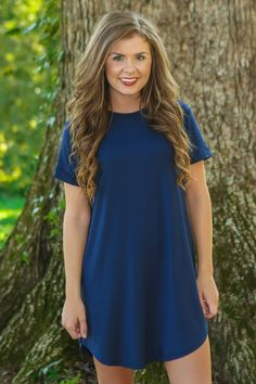 Down To A T-Shirt Dress-Navy - New Today | The Red Dress Boutique