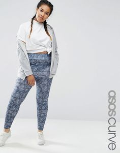 Image 1 of ASOS CURVE Legging in Sketchy Check Print