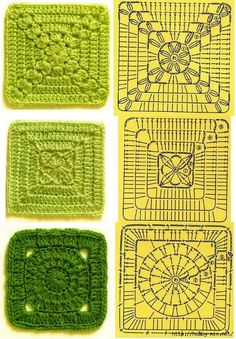 Tita Carré - Agulha e tricot by Tita Carré: Squares de crochet com gráficos 2