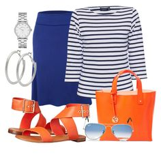 """""""Blått, striper, sølv og oransje."""" by inger-lise on Polyvore featuring LE3NO, Saint James, Vince Camuto, Furla, M&Co, Marc by Marc Jacobs and Ray-Ban"""