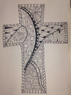 Zentangle Cross 1/30/14 Doodle Art Designs, Tangle Doodle, Cross Designs, Zentangle Patterns, Tangled, Coloring Pages, Origami, Abstract Art, Spirituality