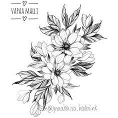 Flower Tattoo Designs, Flower Tattoos, Botanical Tattoo, Fine Line Tattoos, Mandala Sketch, Arrow Clipart, Flower Line Drawings, Shoulder Tattoos For Women, Pretty Art