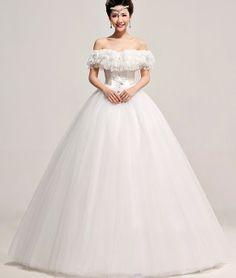 Korean Strapless  Off The Shoulder Short Sleeve Ball Gown Floor length Crystal White Grid Yarn Wedding Dress