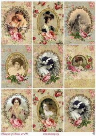 "Decoupage and painting handmade. Buy rice paper for decoupage ""ladies in ovals with roses"", art. Decoupage Vintage, Éphémères Vintage, Images Vintage, Vintage Labels, Vintage Ephemera, Vintage Pictures, Vintage Paper, Vintage Postcards, Vintage Prints"