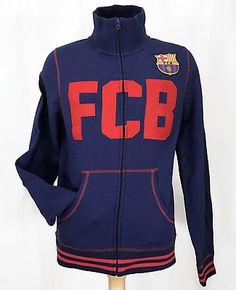 FC Barcelona Mens Warm-Up Sweatshirt Jacket Soccer Club Spain Blue Red Sz Large