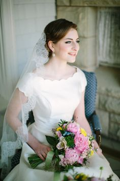 Classic Bridal Gown and Mantilla Veil