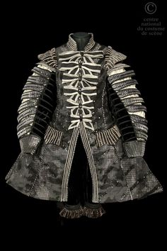 Opera National de Paris- Front view- Dress in gray and black sequined cotton covered with gauze collar and shoulders brown velvet and silver lame, node Ottoman black and gray cotton.
