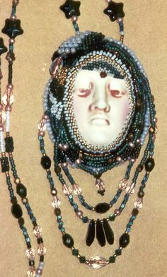 """Bohemian Face"" Beaded Necklace by Linda Thompson-Mills -- Northern California (Face by Diane Briegleb)"