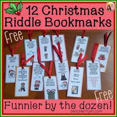 If you want to encourage your kids to read more , especially over the Christmas vacation , these hi lar iously funny bookmarks will. Christmas Riddles, Christmas Writing, Christmas Worksheets, Twelve Days Of Christmas, Christmas Themes, Christmas Holidays, Christmas Vacation, Christmas Crafts, Root Words