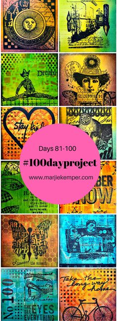 #100dayproject Marjie Kemper Days 81-100 - mixed media art journal techniques
