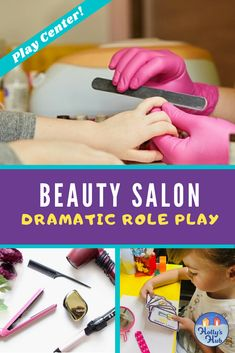 This cute Beauty Salon Dramatic Role Play Center was a hit with my class this year! It's a hairdressers and nail salon in one! This includes everything you need to set up a bright and colorful pretend play area in your classroom. Children can design their own hairstyles and nails, make appointments and more! If you are teaching children about length/size in Math, then this is a great way to get them using this language. #dramaticroleplay #pretendplay #Beautyslaonforkids #hollyshub #centers People Who Help Us, Role Play Areas, Hairdressers, Play Centre, Cute Beauty, Elementary Teacher, Pretend Play, Appointments, Teaching Kids