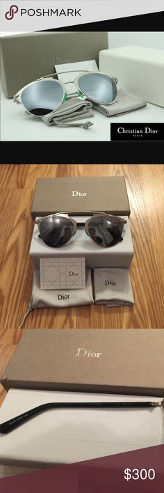 Dior Reflected Silver Worn once mint condition Dior Reflected Sunglasses in silver with black arms and green nose pieces. no scratches on lenses at all. comes with case, cleaning cloth, glasses bag, card, and box. 100% authentic. gorgeous glasses i just don't wear them enough. Dior Accessories Sunglasses