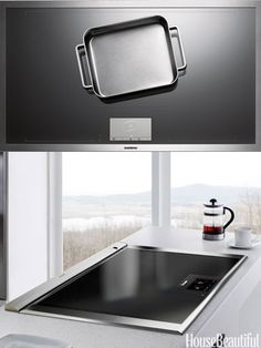 Innovative Cooktops: Induction stoves, prized for their precision, just got even sleeker and more high tech. Put a pot or pan anywhere on the flat surface, and each of these two models automatically recognizes size, shape, and location. Built-in touchscreen displays make it easy to adjust the temperature. Top: CX 491 Full-Surface Induction Cooktop, $6,049. gaggenau-usa.com. Bottom: Freedom Induction Cooktop, $5,499. thermador.com.