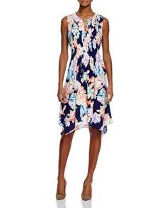 NYDJ Floral Print Pleated Dress | Bloomingdale's