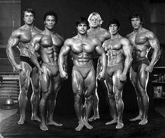 Arnold Schwarzenegger, Rick Wayne, Franco Columbu, Dave Draper, Chuck Collras and Frank Zane