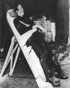 #BorisKarloff relaxes on a leaning board between scenes on THE BRIDE OF FRANKENSTEIN (1935) | Citizen Screen