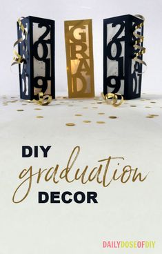 graduation centerpieces DIY Graduation Decor Centerpieces - Daily Dose of DIY College Graduation Parties, Graduation Diy, Graduation Celebration, Graduation Invitations, Grad Parties, Graduation Quotes, Graduation Announcements, Graduation Table Ideas, Vintage Graduation Party