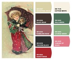 Paint colors from Chip It! by Sherwin-Williams the last column of colors plus a rich chocolate brown Color Schemes Colour Palettes, Color Combinations, Paint Swatches, Boutique Ideas, Wheat Grass, Cordial, Christmas Illustration, Fine Wine, Vintage Holiday