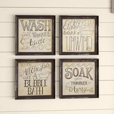 August Grove 'Bath Time' Picture Frame Textual Art on Wood | Birch Lane #WhiteBathroomDecor Sea Bathroom Decor, Brown Bathroom, Simple Bathroom, Bathroom Ideas, Cheap Home Decor, Diy Home Decor, Simple Wall Paintings, Purple Bathroom Accessories, Black And White Photo Wall