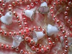 authentic vintage pink christmas mercury glass bead garland with bells