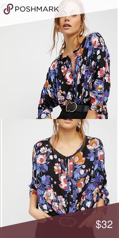82d50e115066 Free people keepin on Black floral shirt brand new Brand new without tags  Sfpf home I