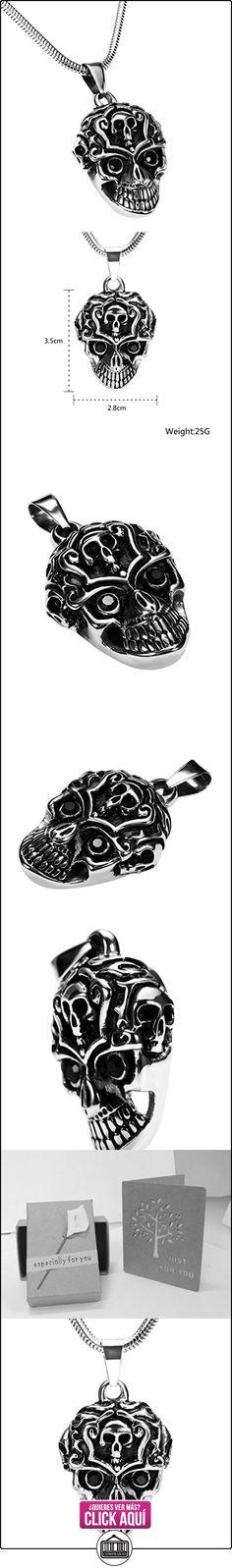 Daesar Joyería Collares de Hombre Acero Inoxidable Gótico Cráneo Calavera Negro Plata Colgantes Vintage 2.8X3.5cm  ✿ Joyas para niños - Regalos ✿ ▬► Ver oferta: https://comprar.io/goto/B01MTOS48S