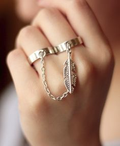 chain feather ring.