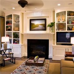 Traditional Living Room Built In Bookcase Design, Pictures, Remodel, Decor and Ideas - page 5 Built In Around Fireplace, Tv Over Fireplace, Living Room With Fireplace, Fireplace Surrounds, Home Living Room, Living Room Designs, Living Room Decor, Fireplace Wall, Fireplace Ideas