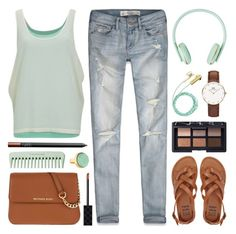 """""""Headphones on. World off."""" by lgb321 ❤ liked on Polyvore featuring Abercrombie & Fitch, MICHAEL Michael Kors, Daniel Wellington, Billabong, Vero Moda, Marni, NARS Cosmetics, Gucci, music and mint"""