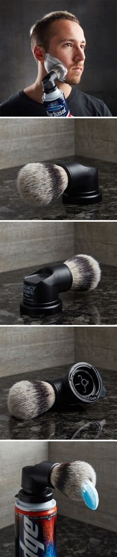 This shaving brush has a rather unique twist to it, allowing it to snap right onto any pressure based shaving cream/gel can. Since all cans have a standard fixture for the nozzle, the Evolutionary brush ditches the can's original nozzle and fits right in its place. Then all you do is push the button down and cream/gel appears directly on the brush-end of the attachment, not just saving time, but also making your shaving process rather convenient.
