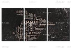 Quadro Map of Spain on the blackboard