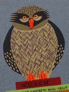 It's not your Grandmother's Needlepoint, needlepoint owl
