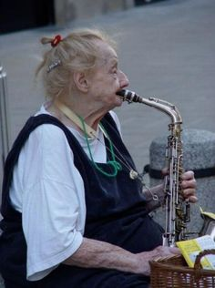 This lady is wonderful. Never too old to play music.