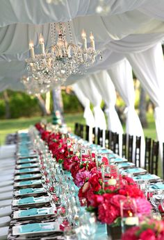 Stylish Tented Wedding Reception Tablescapes. Love This!  I am totally in love with tents that have fabric swathing and hanging chandeliers. If I could only re-do my wedding....To the same guy, of course!