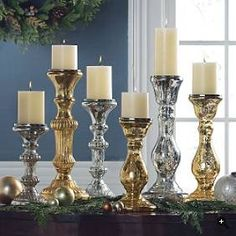 Candles, mixed metal Nice... I seem to need sparkle this year...