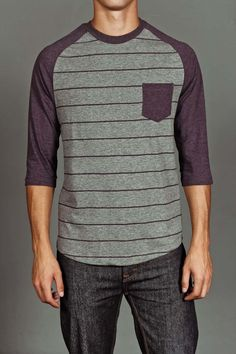3/4 Sleeve Striped Raglan. I want this shirt for a pajama shirt!