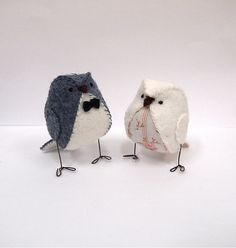 Vintage wedding cake topper birds light grey and by BlossomHill, $34.00