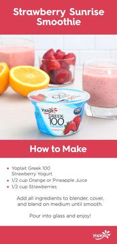 Strawberry Sunrise Smoothie with Yoplait Greek 100 Strawberry yogurt.