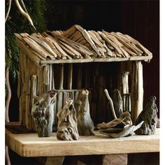 Driftwood nativity. Creche and figures are all of driftwood.