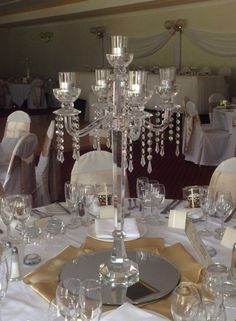 Candelabra Wedding Centerpieces, Crystal Candelabra, Tea Lights, Wedding Styles, Table Settings, Chandelier, Ceiling Lights, Table Decorations, Crystals