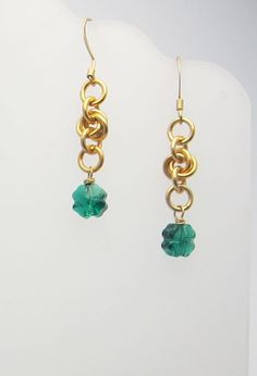 Handmade  Lucky Clover Chainmaille Earrings by RedBessBonney, $10.00
