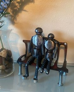 Sitting on the Park Bench handmade welded metal art Rake Head, Mike Jackson, Scrap Material, People Sitting, Tissue Box Covers, Metal Wall Decor, Dog Coats, Bottle Holders, Metal Signs
